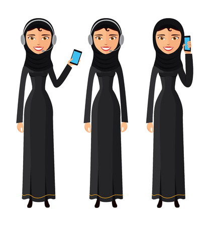 Arab happy woman talking on the mobile phone vector flat isolated on white