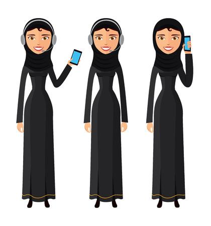 Arabische glückliche Frau, die auf der Handyvektorwohnung lokalisiert auf Weiß spricht