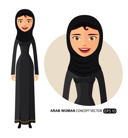 Arab business woman in a hijab with natural curly hair flat cartoon vector illustration isolated on white