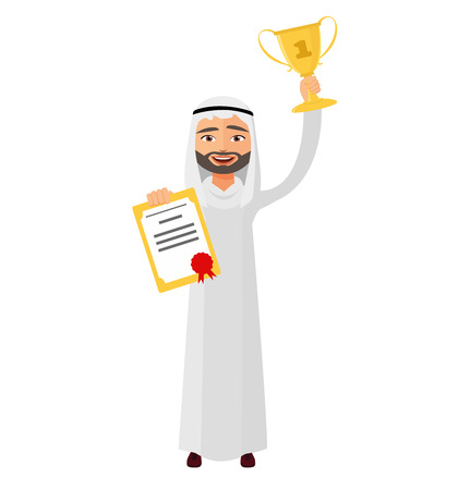 Arab man raising up trophy certificate  winner success concept vector isolated on white background