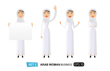 Arab woman holding sign or banner waving her hand thumb up isolated on white background vector
