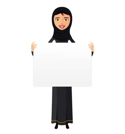 Arab woman holding sign or banner isolated on white background