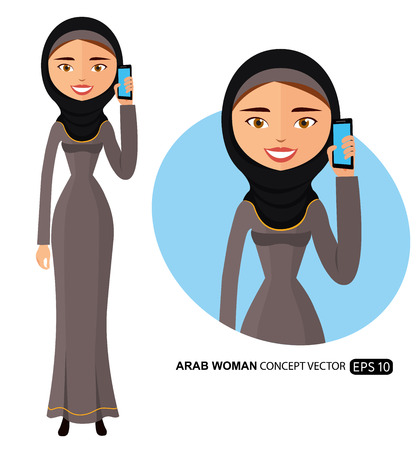 Arab businesswoman talking on the phone vector flat isolated on white