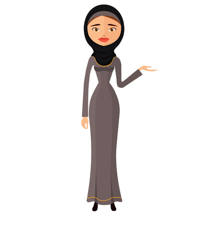 Arab woman in black hijab presenting something cartoon vector illustration isolated on a white background
