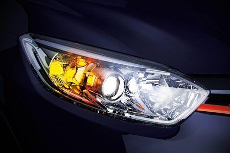 Autoscheinwerfer mit Kopienraum Makroansicht Nahaufnahme des modernen prestigeträchtigen Autos 3D-Darstellung