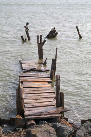 Destruction of the old wooden bridge