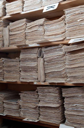 The out-of-date form of storage of paper documents Stock Photo