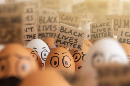 Many cartoony dark and light eggs with different faces participate in a meeting. Black lives matter. I can not breathe.