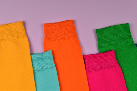 Colorful collection of cotton socks.