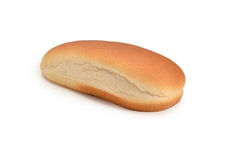 Hot dog bread isolated on white background.