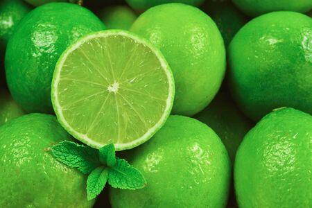 Many fresh limes on white background. Reklamní fotografie