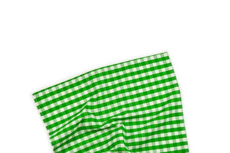 Green napkin isolated on white background. Copy space.