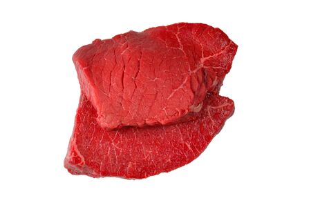 Beef steak isolated on white background.