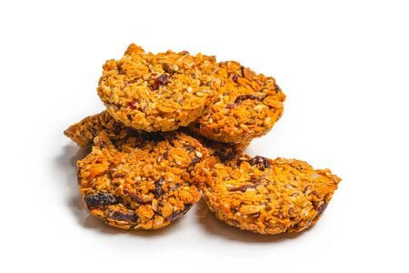 Granola cookies isolated on white background.