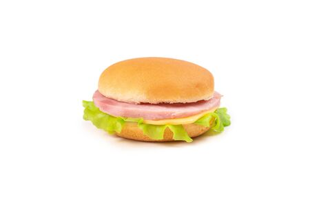 Sandwich with ham, cheese, lettuce on white background. Space for text or design.