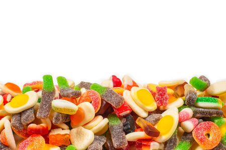 Assorted gummy candies. Top view. Jelly  sweets. Isolated on white. 版權商用圖片