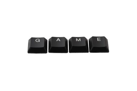 Word game written on keyboard. Top view.