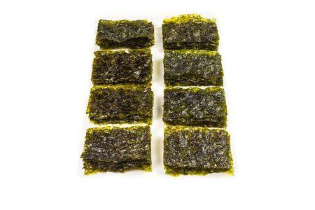 Nori seaweed isolated on white. Top view Stock Photo