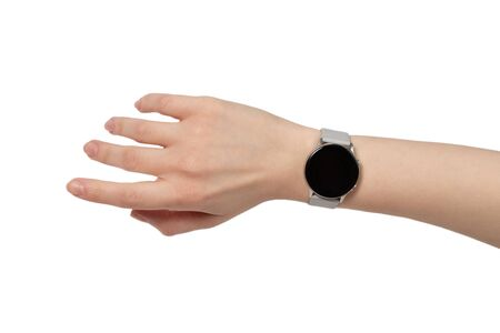 Smart watch on woman hand isolated on white.
