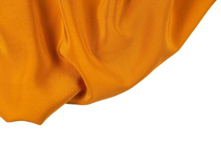Golden silk or satin luxury fabric texture can use as abstract background. Top view. 版權商用圖片