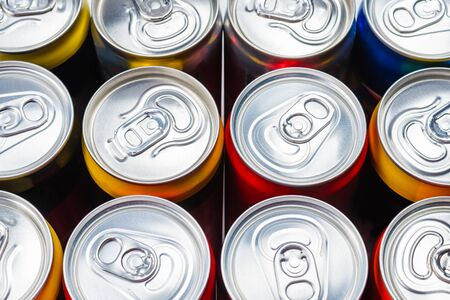 Group of aluminium cans, cold drink. Top view. Stock Photo