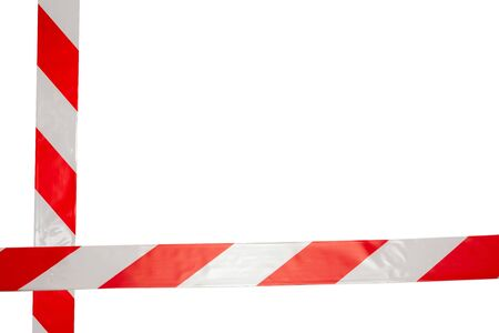 Red and white safety line isolated on white background.  Standard-Bild