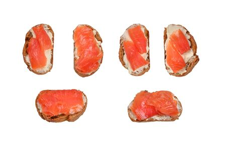 Salmon on a bread with cream isolated on white. Stok Fotoğraf