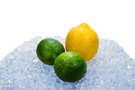 Lemon, lime and mint on ice.