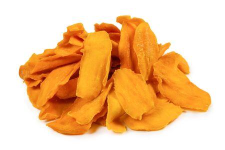 Tasty sugar mango slices background. Top view.