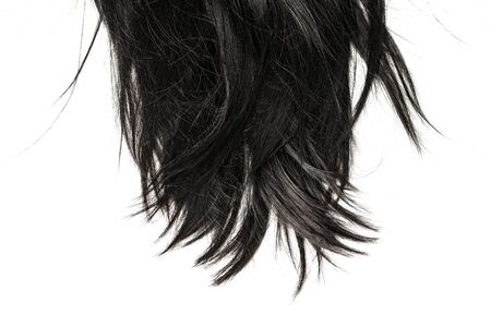 Black hair tips isolated on white background.