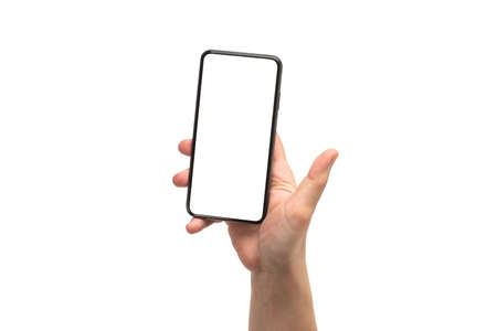 Smart phone in man hand isolated on white background. White screen. Copy space.