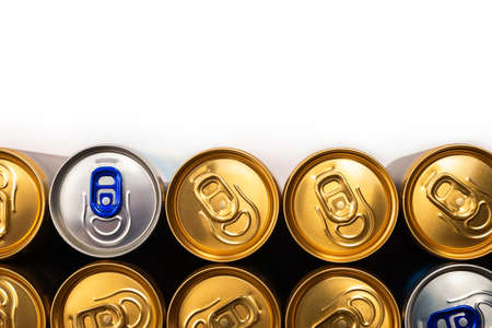 Group of aluminum cans, cold drink. Top view. Banco de Imagens