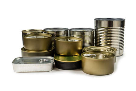 Mix of cans isolated on white background. Copy space. Foto de archivo