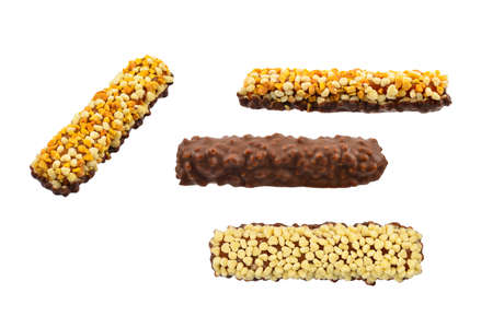 Chocolate bar with nuts isolated on white background