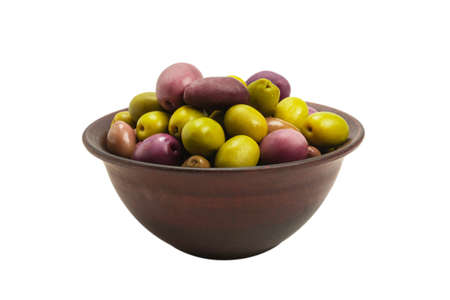 Olives in ceramic brown bowl isolated on white background.