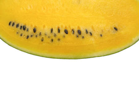 Yellow watermelon isolated on white background. 免版税图像