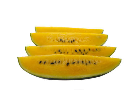 Yellow watermelon isolated on white background. Standard-Bild