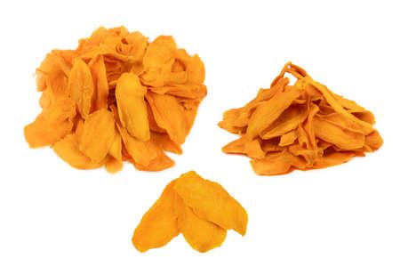 Tasty sugar mango slices background. Top view. Imagens