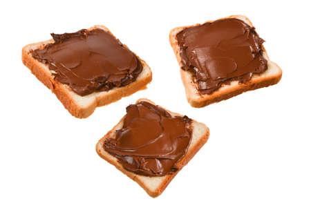 Ð¡hocolate paste sandwich isolated on white background.