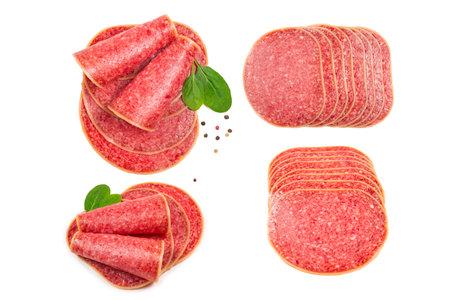 Tasty salami slices isolated on white background. Stok Fotoğraf
