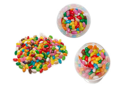 Colorful jelly beans isolated on white. Top view.
