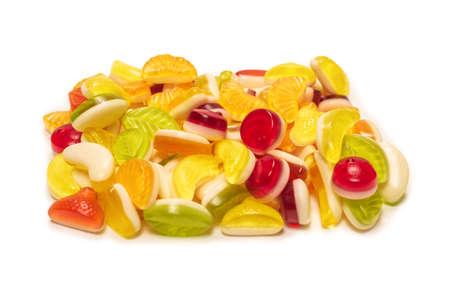 Assorted tasty gummy candies. Top view.