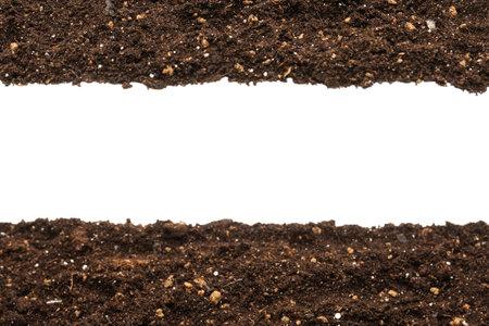 Black land for plant isolated on white background. Stockfoto