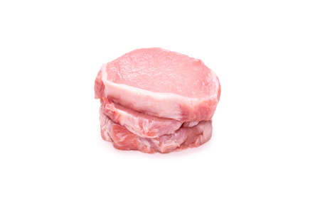 Raw pork pieces isolated on a white background. Top view. Standard-Bild