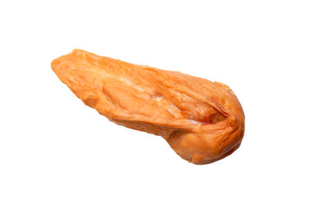 Smoked chicken fillet isolated on a white background. Top view. Standard-Bild