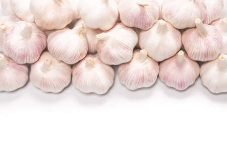 Garlic isolated on a white background. Top view.