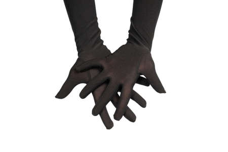 Woman in long black gloves wantingor asking for something isolated on a white background. Standard-Bild