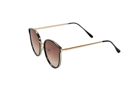Woman brown trendy sunglasses isolated on a white background.