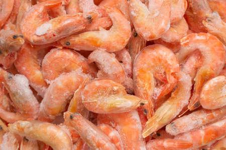 Fresh shrimps in ice. Top view. Standard-Bild