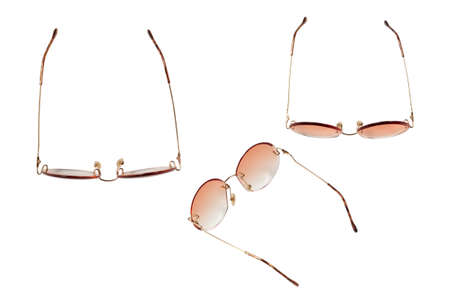 Round summer woman sunglasses isolated on a white background.